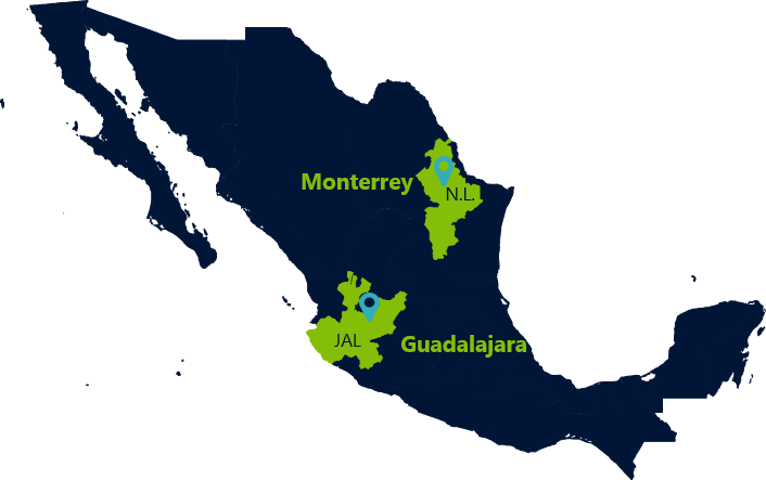 Recommended cities for an IT practice in Mexico